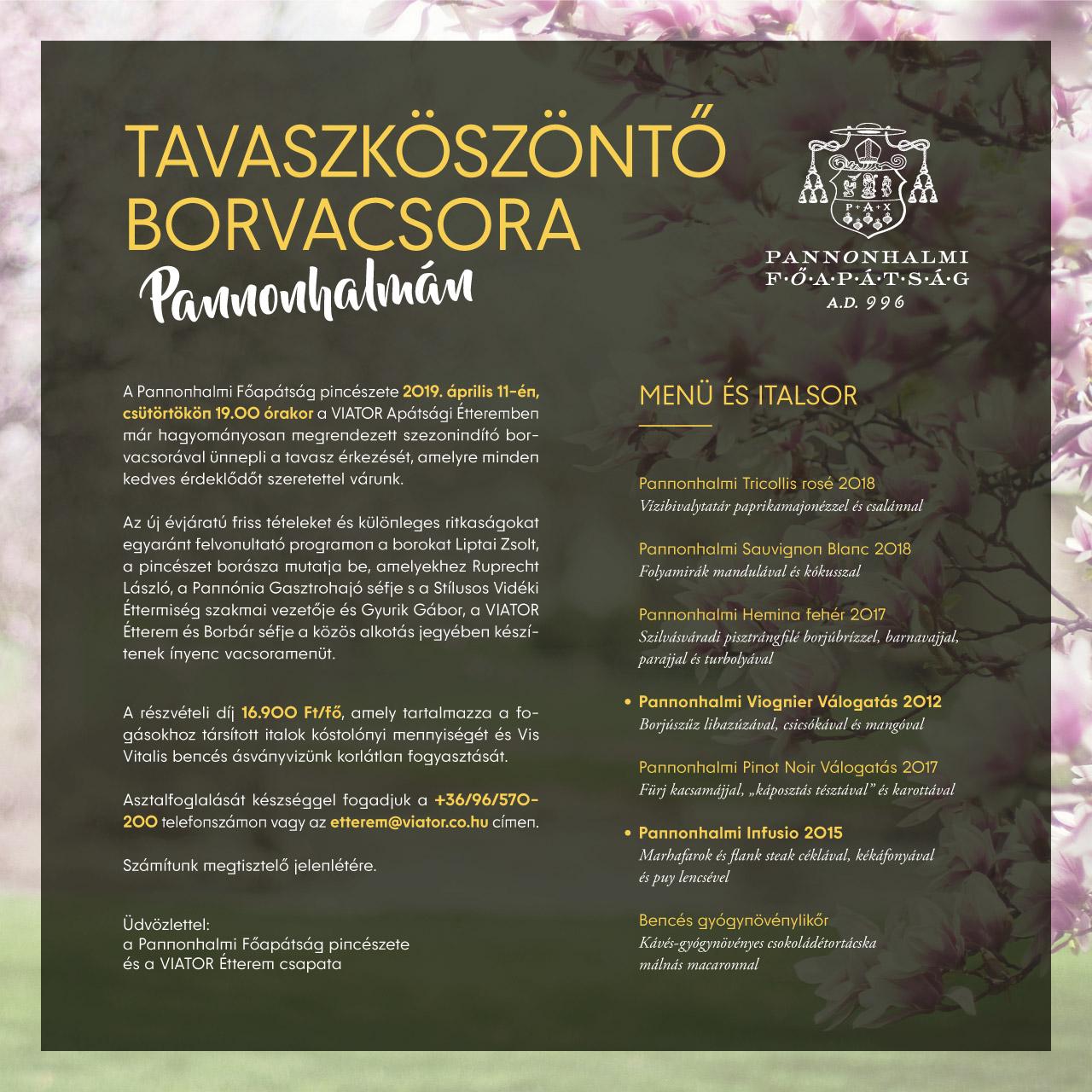 Tavaszköszöntő borvacsora Pannonhalmán
